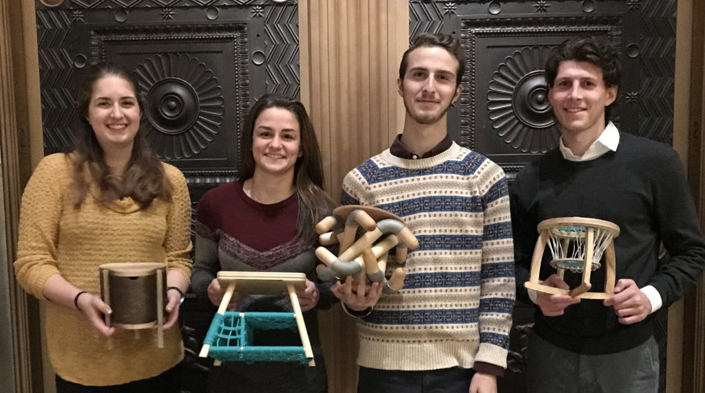 From Left to Right: Hannah Smythe (Clover Stool), Jessica Monteleone (ParaStorage Stool), Peter Holderith (The Sock Stool), Zachary Samalonis (ReadnRock).