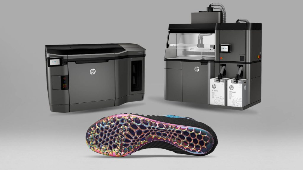 Hewlett-Packard's Jet Fusion printers and an example of Nike's 3D-printed shoe sole.