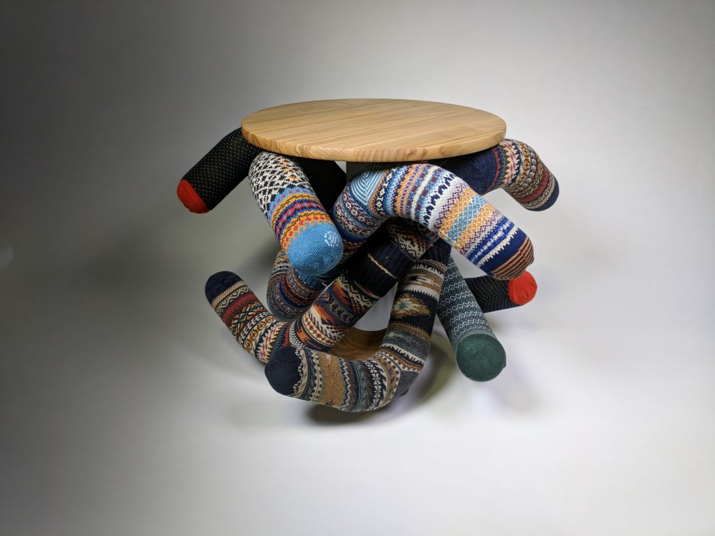 "Peter Holderith's Second Place-winning ""Sock Stool""."