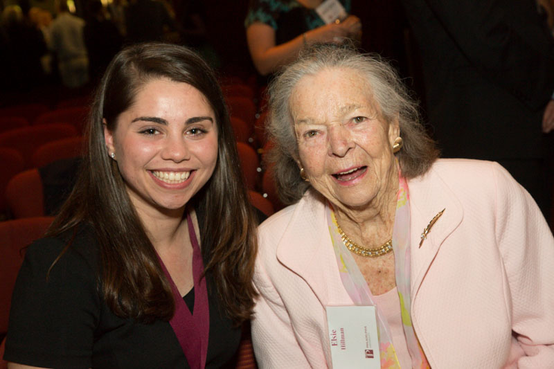 Physician assistant studies student Emily Reynolds '16 smiles with Elsie H. Hillman, who presented Reynolds with her award at the ceremony.