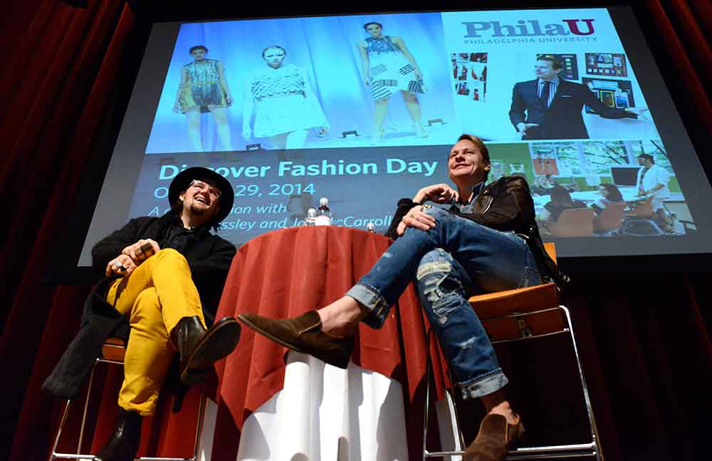 Jay McCarroll (left) and Carson Kressley talk fashion, collaboration and PhilaU at Discover Fashion Day.