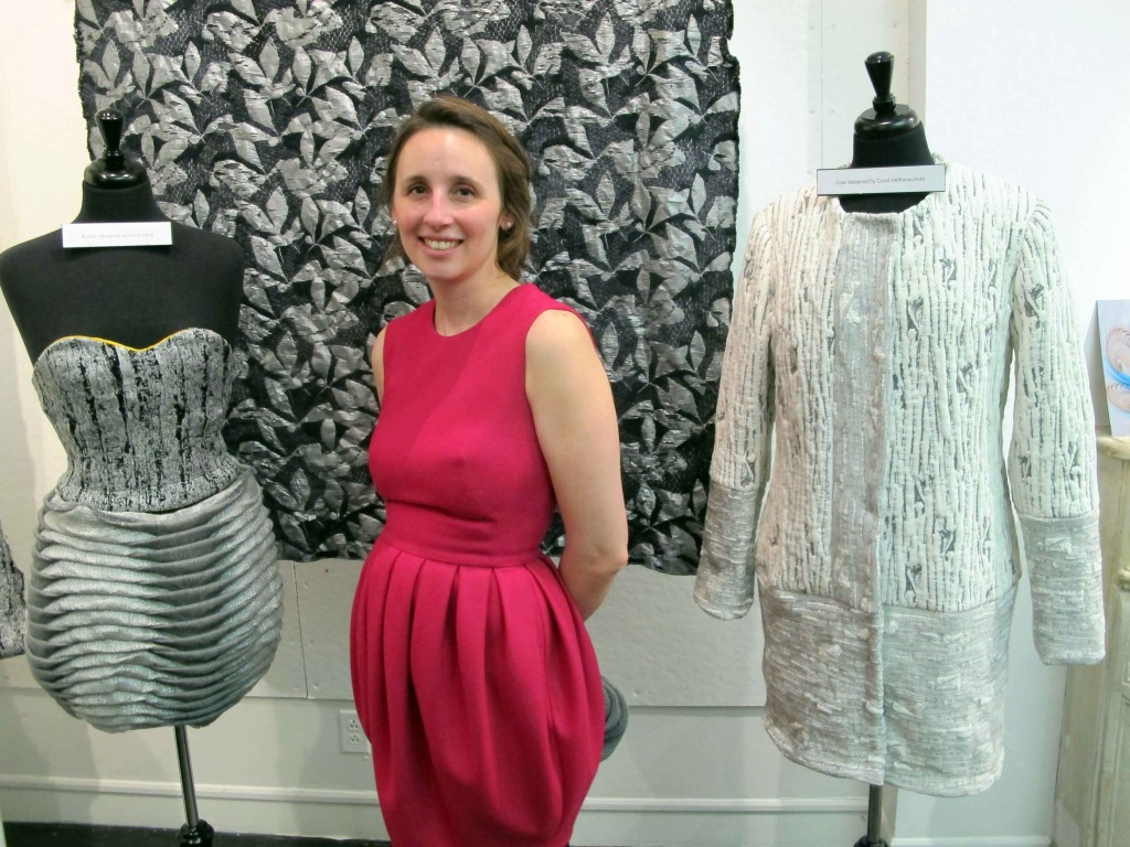 Mary Armacost, an M.S. in Textile Design student, presents original garments made from  her textiles.