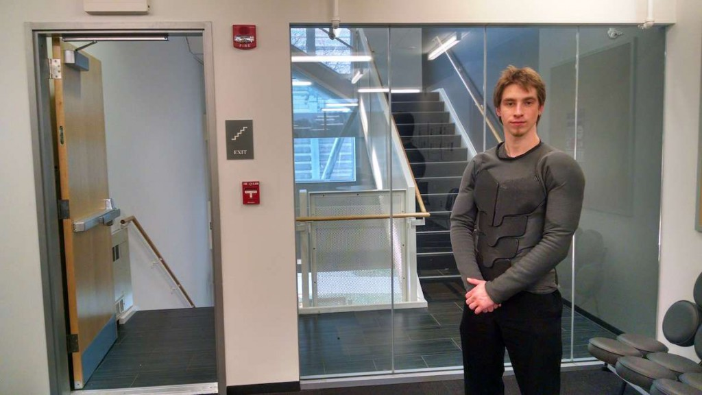 First-year industrial design student Jackson Gordon models part of his Batsuit replication.