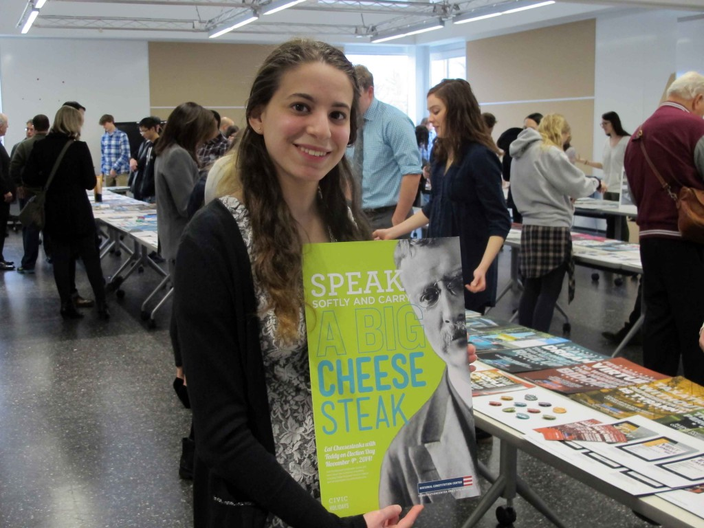 Honorable mention recipient Elizabeth Dell shows her Philadelphia-themed poster campaign.