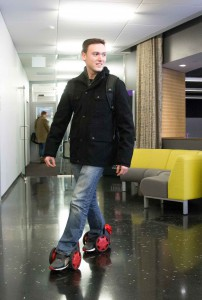 Industrial design junior Kyle Thorpe believes in testing new products in the start-up world, such as Rocketskates.