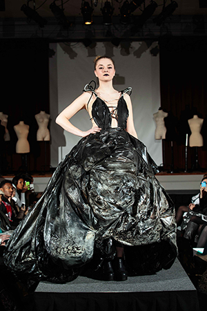 Lauren Casale's stunning black ball gown is made of 150 garbage bags.
