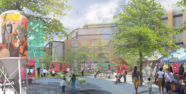 Landscape architecture graduates Vanessa Miller, Tim Linehan and Darpan Patel envision a Germantown park in this 2014 team project.