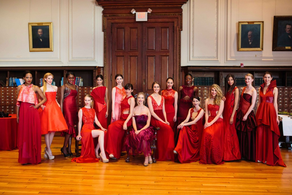 Models display PhilaU student fashion designs at the annual red dress fashion show sponsored by the American Heart Association at the Mütter Museum.