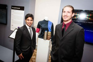PhilaU students present their team's design for a motion-analysis shirt to help health professionals monitor their patients' progress as part of the Verizon Nexus Learning Challenge.