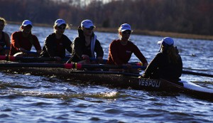 The women's rowing team competes in the 2015 Aberdeen Dad Vail Regatta on the Schuylkill River on May 8.