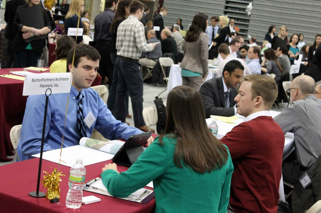 Top employers recruit interns and employees at PhilaU's Design Expo.