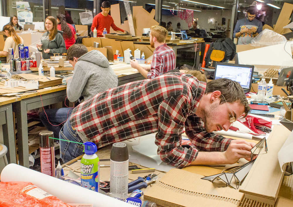 PhilaU architecture students work in the studio.
