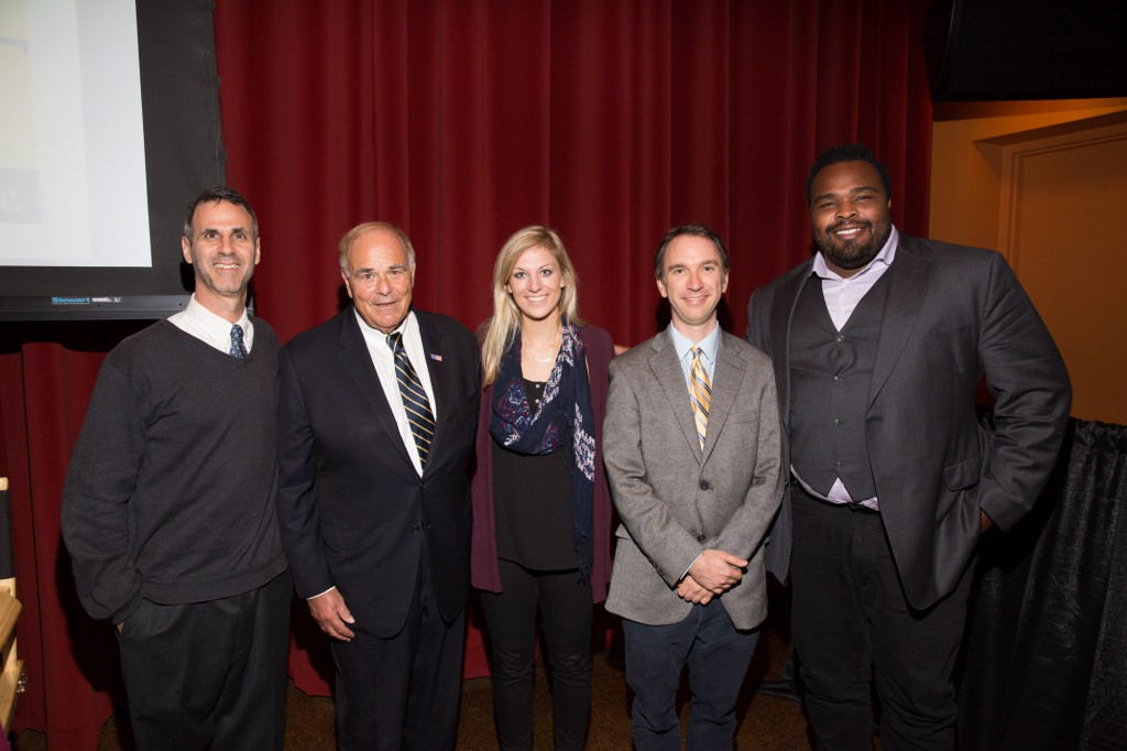 Lawrence Katz  Lecture panelists (left to right) Steve Almond, Hon. Ed Rendell, Libby Nichols, Ryan Long and Bobbie Williams.
