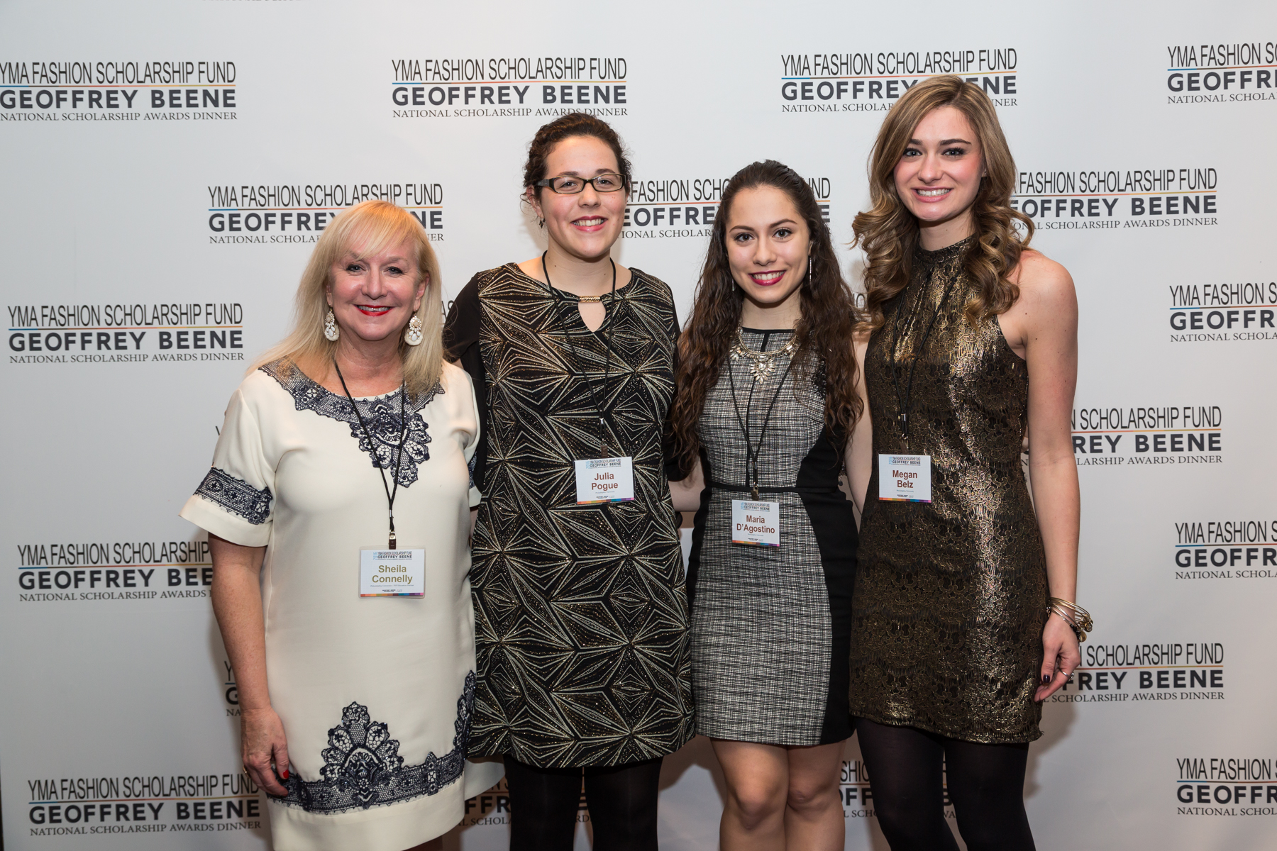 Fashion design program director Sheila Connelly with YMA scholarship winners (left to right) Julia Pogue, Maria D'Agostino and Megan Belz.