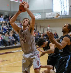 Peter Alexis in action on PhilaU's Herb Magee Court.