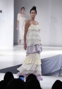 Philadelphia U. fashion student Jessica Griffin won the award for excellence in bridalwear for her collection inspired by the French countryside in collaboration with textile design student Maggie Kincade.