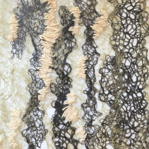Textile design graduate student Samantha Fletcher '16 featured  melted PVC yarn in her first-place design.