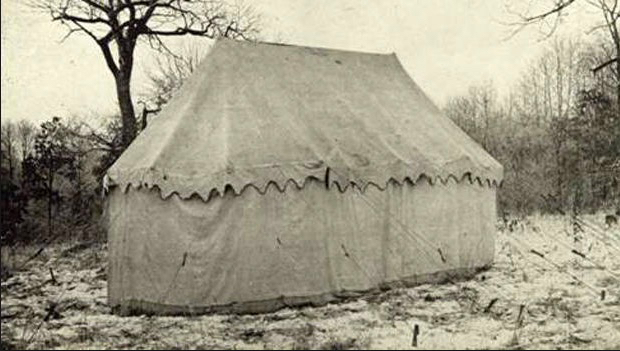 This image shows how the original tent appeared in Valley Forge in 1909.
