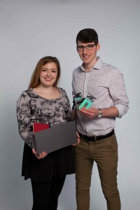 Industrial design seniors Aria Lee and Jacob  Brosius with their Target products.