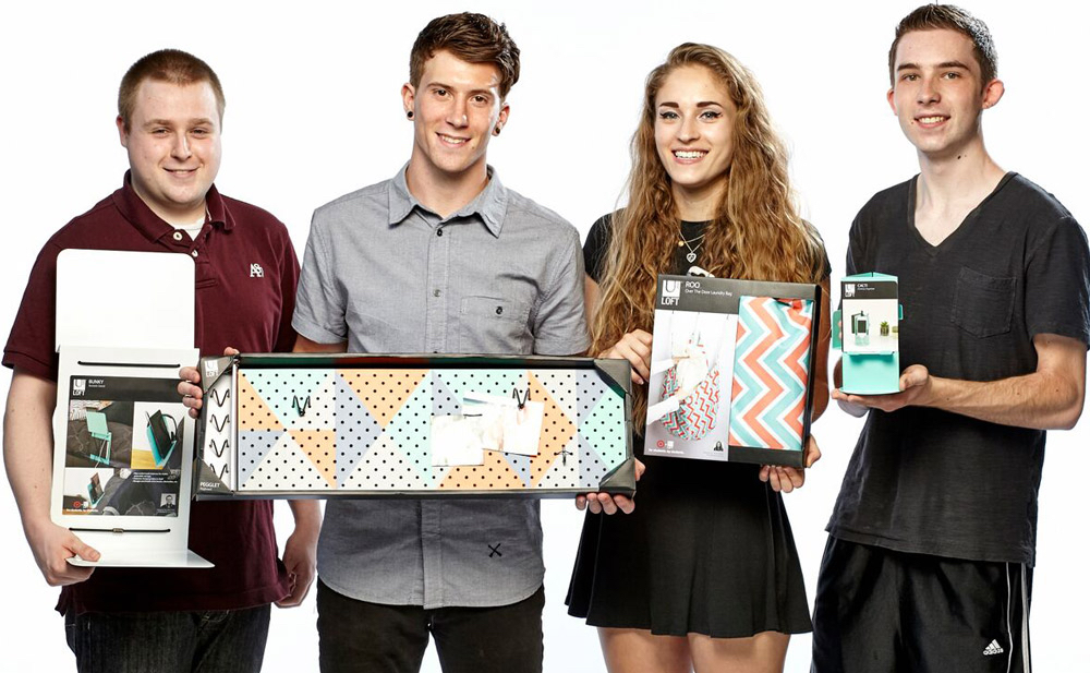 Industrial design students Nick Friez, Anthony Maladra, Chloe Muller and Sam Pawlak with their Target products from the 2015 back-to-school line.