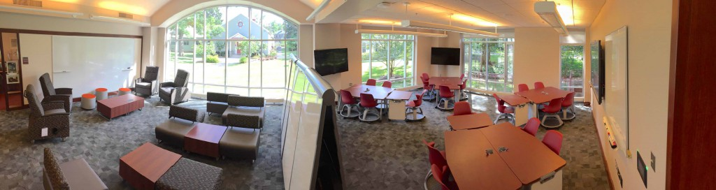 The Gutman Library instructional space now better reflects learning spaces within existing Nexus Learning Hubs.
