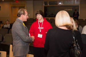 Before the session started, prospective fashion design student Damon Mensch met Carson Kressley.