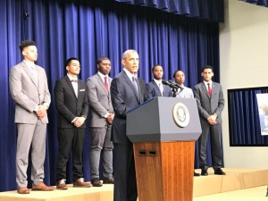 PhilaU student Tyler Wims attended a White House summit with President Obama for his work with My Brother's Keeper Success Mentors Initiative.