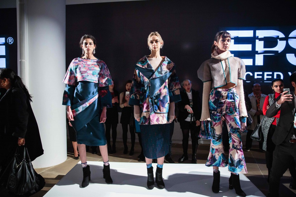 The students' collection explores layering of printed textiles inspired by nature's perplexing and changing beauty.