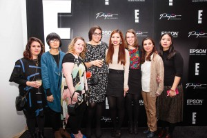 The PhilaU team of (l-r) Natasa Kovacevic, Xiujia Wang, Taylor Weckerly, Veronica Christiansen, Huyen Doan, Maria Balestino, Saeideh Gilani and Yi Chun Liu presented their work to hundreds of fashionistas, technology and fashion industry leaders, reporters and guests.