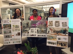 PhilaU students Dominique Waldrup, Taijsha Bailey and Christine Migliore present their winning projects.