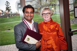 President's Award for Excellence recipient Raju Parakkal with Marion Roydhouse, founding director of the Center for Teaching Innovation andNexus Learning.