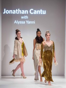 Jonathan Cantu won Excellence in Eveningwear for this collection done collaboration with textile design student Alyssa Yanni.