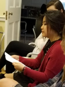 """PhilaU student Haru Jang read her essay """"The Gift of Grief: How to Save a Life."""""""