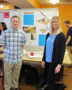 Industrial design student Michael Grosso and occupational therapy student Laura Cannon created the assistive device called the Stair Server.