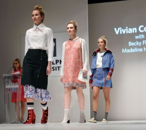 Vivian Cooper's collection with textile designers Becky Flax and Madeline Halsey won the Destination Maternity award for sportswear at the 2017 Fashion Show.