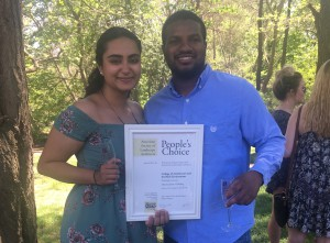 "Students Rajvi Vyas and Hakeem Wilson won for their project ""Metamorphosis of Healing."""