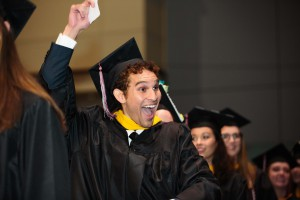 Enthusiastic students celebrate at PhilaU's 133rd Commencement.