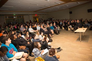 Mayne shared his insights to a packed house at the Tuttleman Center.