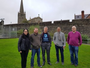 Faculty members from Jefferson and Ulster tour Derry's historic walls while in Northern Ireland.