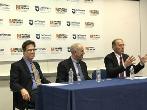 Robert F. Margolskee, MD, PhD, president and director of the Monell Center; Jefferson Chancellor Stephen Spinelli Jr., PhD; and Dwight Riskey, PhD, chair of the Monell Center Board of Directors speak at the signing ceremony.