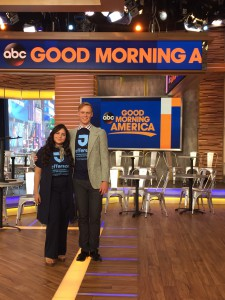 "Keren Espina and Tommy Heidebrecht in the ""Good Morning America"" studio."