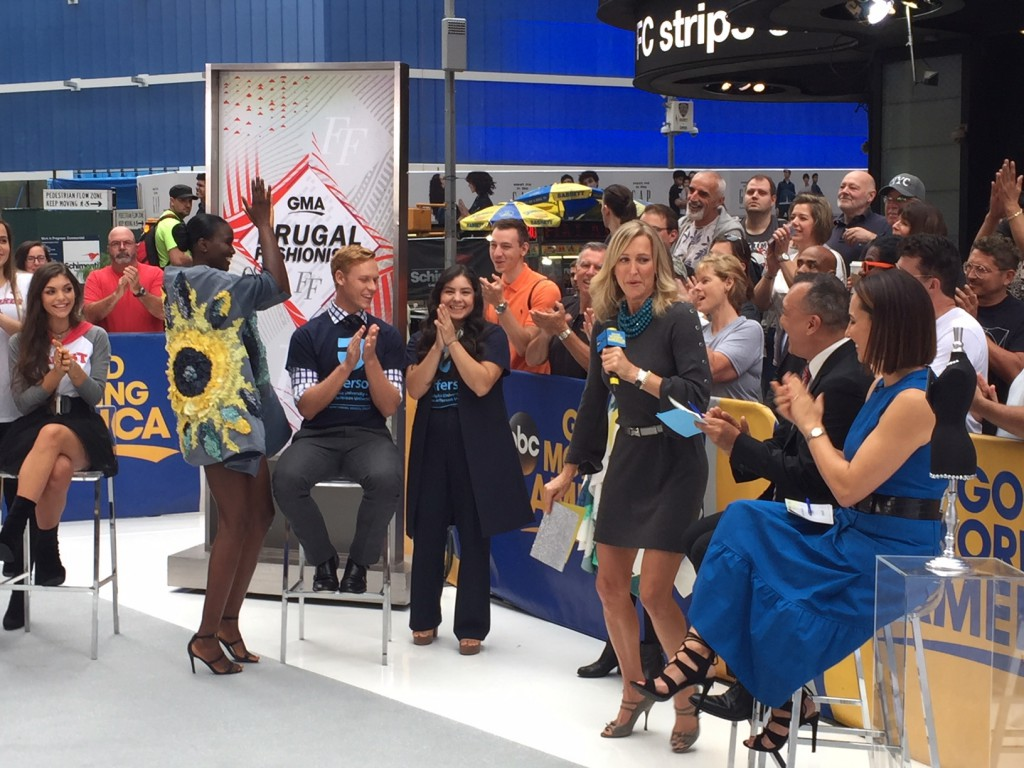 """Good Morning America"" host Lara Spencer announces Jefferson students Keren Espina and Tommy Heidebrecht as the  winning designers."