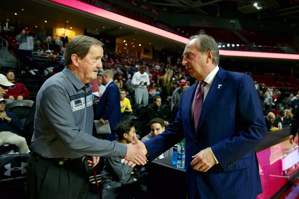 Long-time friends Jefferson Head Coach Herb Magee and Temple Head Coach Fran Dunphy shake hands before the game.