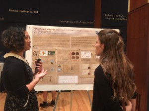 Assistant professor of chemistry Niny Rao (left) discusses her cold brew coffee research.