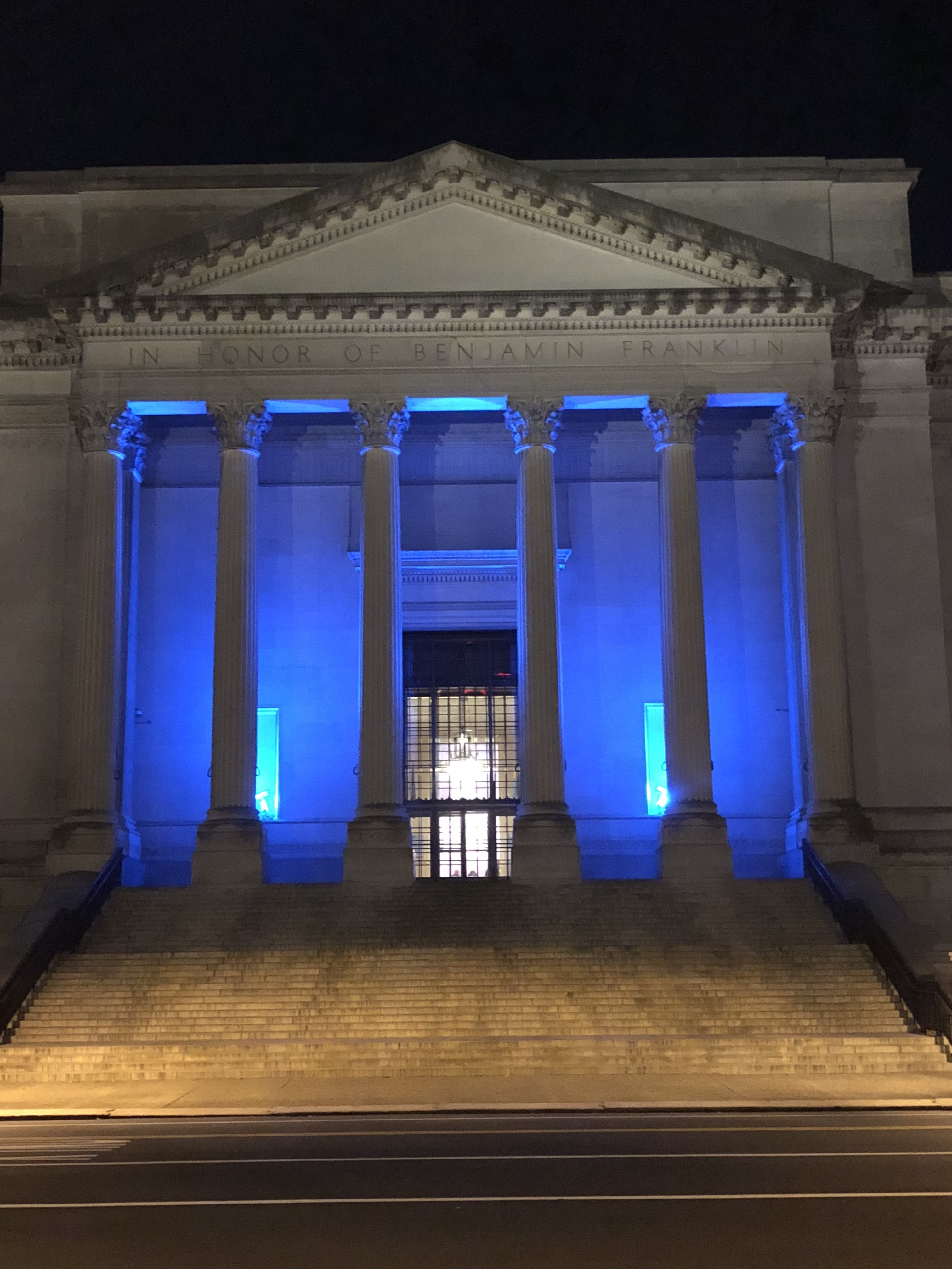 The Franklin Institute is one of the many Philadelphia buildings participating in the Blue Lights C&aign & Jefferson Physician Lights Up the City Blue for Colon Cancer ...