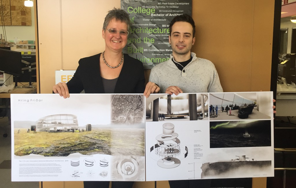 "Executive dean Barbara Klinkhammer and architecture student Austin Dimore with the winning proposal, ""Hring Friðar."""