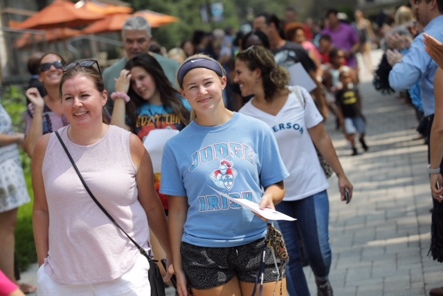 Jefferson faculty and staff greeted the new students and their families as they streamed down the walkway.