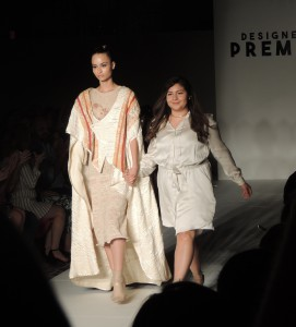 Jefferson alumna Keren Espina (right) walks the runway at the Designers' Premier show at New York Fashion Week.