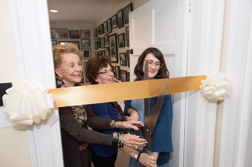Joan Specter, Specter Center coordinator Karen Albert and textile design student Robin Althouse cut the ribbon at the ceremony.