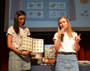 """Graphic design communication students Patrice Sakalosky and Abbey Pitzer discuss their """"Farm to Fridge"""" brand system."""